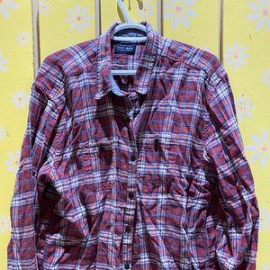 Lucky Brand worn in flannel — boyfriend fit